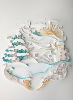 decorative quilling:  winter scene ... luv the soft colors of aqua and yellow with the white ... absolutely  gorgeous ...