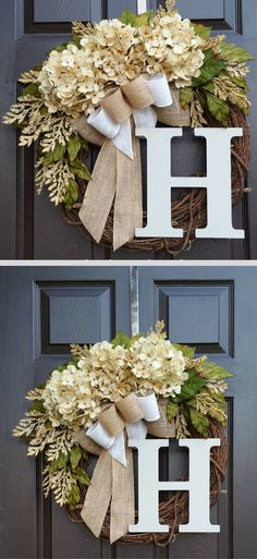 Fall Farmhouse Wreath Cream Hydrangea Spray Floral Grapevine Year Round Burlap Ribbon Wreaths Front Door Porch Rustic Farmhouse Style Country Classic Decoration Holiday Garland Mantle Family Initial Last Name Wall Art Decor Holiday Thanksgiving October No