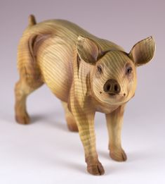New Primitive Folk Art Rustic TREENWARE PIG FIGURINE Resin Figure Shelf Sitter