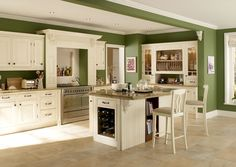Green Kitchen Cabinets Wall Color For