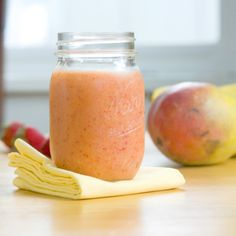 mango smoothie-med (mango, strawberries, oj, a little lime juice, and ice)
