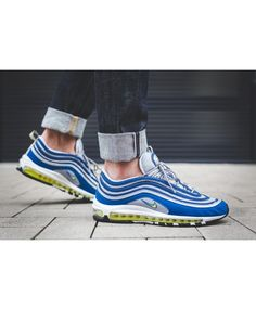 0539ae7e14 Authentic Nike Air Max 97 OG Atlantic Blue Voltage Yellow Wolf Grey Trainers