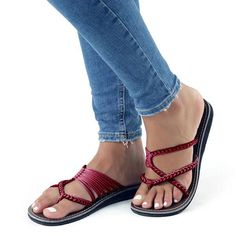 573a9b303 Chellysun Womens Summer Oceanside Rope Flats Sandals - Wine Red   9 Rope  Sandals