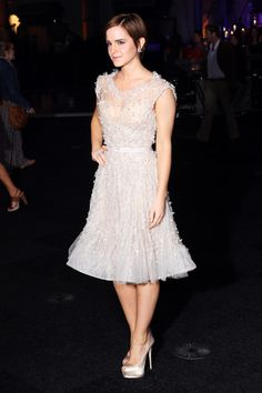 """Emma Watson Cocktail Dress"" -   Emma donned yet another breathtaking dress of the night in a sparkling Elie Saab number at the 'Harry Potter' UK premiere after party.  Brand: Elie Saab Couture"