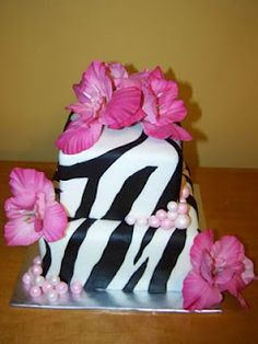 Cakes by Kristen H.: Zebra Print with Pink Flowers