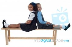 """""""School Girls Leaning Against Each Other"""" by stockimages Back To School Images, Going Back To School, School S, Royalty Free Stock Photos, Author, Illustrations, Friends, Girls, Fun"""