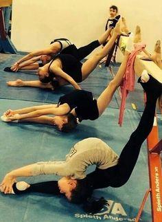 Rhythmic gymnastics training... Haha, pretty sure I've done this XD