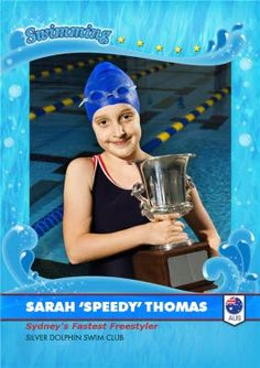 Do you have a budding Swim Champ at Home? Personalise this great swimming card for the little fish in your life. Little Fish, Kids Sports, Olympians, Winter Sports, Champs, Thank You Cards, Masters, Card Making, Swimming