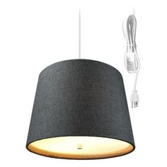 Drum 2 Light Swag Plug-In Pendant with Diffuser - Granite Grey Burlap