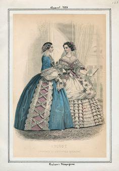 Graham's Magazine, August 1858. LAPL Visual Collections.  Civil War Era Fashion Plate