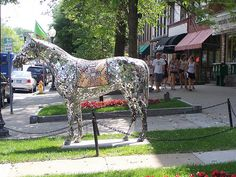Horses in Saratoga Springs, downtown, via Flickr. - Saratoga Springs NY