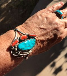 A personal favorite from my Etsy shop https://www.etsy.com/listing/490516108/old-pawn-navajo-cuff-turquoise-and-coral