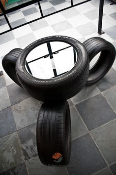 Table made of old tyres