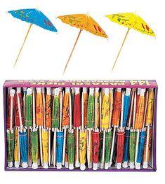Luau Parasol Picks Pkg/144