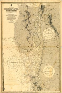 Bay of Bengal - Gulf of Martaban Bay Of Bengal, Urban Fabric, Topographic Map, Vintage World Maps