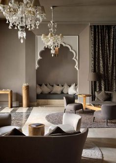 un salon aux tons neutres dinspiration marocaine - Decoration Triate Du Salon Beldi