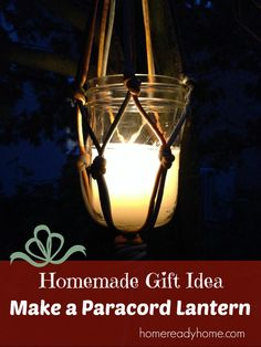 Homemade Paracord Lantern.  Use various colors of cord, various scents of candle wax, and even various glass jars or candle holders of your choice.