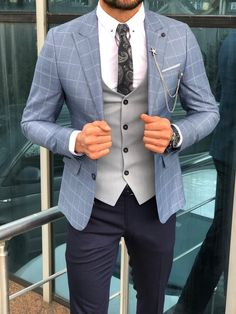 Slim-Fit Plaid Suit Vest Blue - his style - Suit Blazer Outfits Men, Mens Fashion Blazer, Suit Fashion, Mens Smart Fashion, Fashion Guide, Fashion Rings, Fashion Boots, Style Fashion, Fashion Ideas