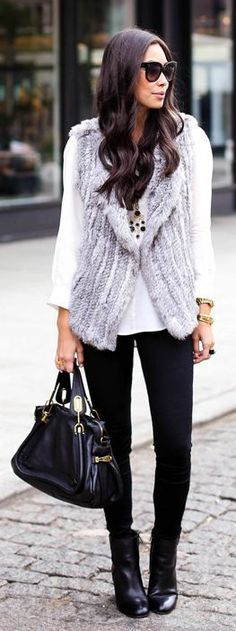 Street style grey fur, white blouse and black booties