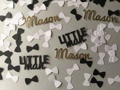 Little Man Baby Shower Personalized Confetti - Bow Ties and Name Confetti - 350 pieces Little Man Birthday, Baby First Birthday, First Birthday Parties, Birthday Ideas, New Birthday Cake, White Baby Showers, Baby Bingo, Baby Shower Decorations For Boys, Boy Decor