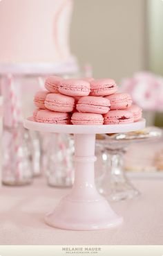 Pink mini macarons on a pastel cake stand. Macarons, Pink Macaroons, Pink Birthday, Birthday Parties, Third Birthday, Birthday Ideas, Galletas Cookies, Pink Parties, Pretty In Pink