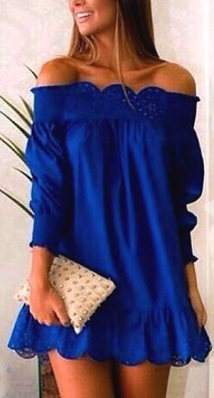 Blue Off The Shoulder Peplum Hem Dress from SheIn