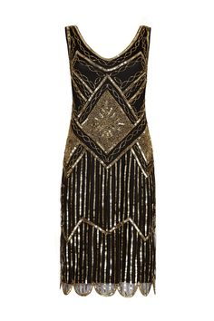 Edith Great Gatsby inspired 1920s Black Gold Flapper Dress<br/><div class='zoom-vendor-name'>By <a href=http://www.ustrendy.com/gatsbylady>Gatsbylady</a></div>