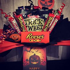 Pre order Halloween confectionery bouquet Toffee Crisp, Confectionery, Sweet Tooth, Sweet Treats, Bouquet, Sweets, Fruit, Halloween