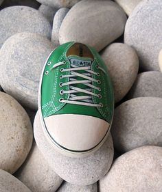 Green All Star Painted Stone Is Painted with by KanetisStones