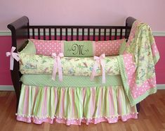 Sweet And Feminine Baby Girls Bedding Sets : Classic Color Scheme Baby Girls Bedding Set Inspiration Offering Vintage Look in Light Pink and...