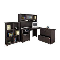 Bush Furniture Cabot Corner Desk And Hutch With Lateral File Cabinet And 6 Cube Bookcase, Espresso Oak, Standard Delivery