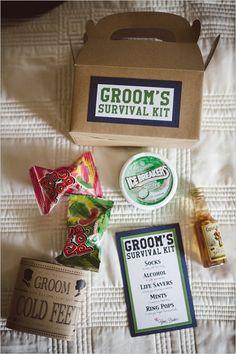 Groom survival kit ideas #groom #groomgift #weddingchicks http://www.weddingchicks.com/2014/04/02/navy-and-green-southern-wedding/