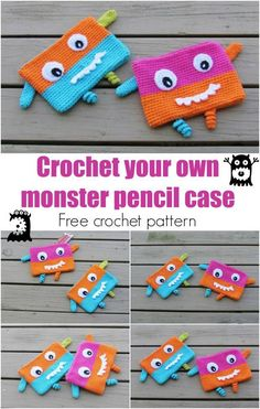 Perfect for when the kids go back to school! Monster Pencil Case or Pouch, Free Crochet Pattern, Back to School