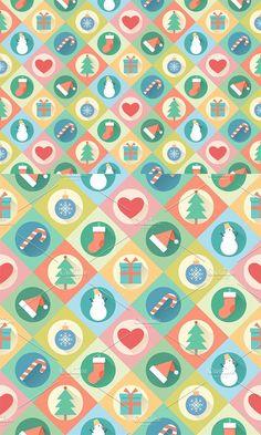 Merry Christmas seamless pattern. Christmas Patterns. $7.00