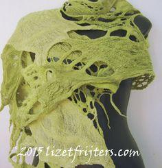 Light Green  Freeform Lace Felt Summer Shawl by lizetfrijters