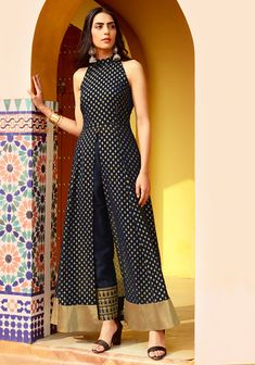Buy Navy Foil Halter Neck Slit Maxi Tunic for women online in India. Shop the latest collection of designer Indo Western High Slit Tunics for ladies and girls with COD and easy return at Indya Kurta Designs, Kurti Designs Party Wear, Indian Designer Outfits, Indian Outfits, Designer Dresses, Western Outfits For Women, Clothes For Women, Indo Western Dress For Girls, Indian Gowns Dresses