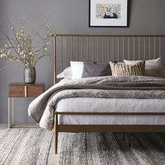 26 Rustic Bedroom Design and Decor Ideas for a Cozy and Comfy Space - The Trending House Estilo Interior, Cama Queen, Metal Platform Bed, Mid Century Modern Bedroom, Mid Century Bed, Style At Home, Contemporary Bedroom, Small Modern Bedroom, Modern Beds