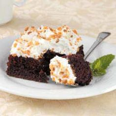 Caramel Crunch Cake Recipe- Recipes  I received this recipe from my sister-in-law, and I love how the cake comes together with a convenient mix, water and egg whites. Crushed candy bars make a fun addition to the moist treat. —Heather Dollins of Poplar Bluff, Missouri