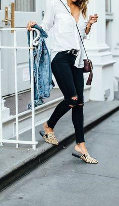 white button down, black jeans, cheetah print slides