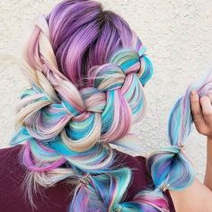 Magical hair sorcery of the best kind by Get this dreamy look utilizing the CHI LAVA Hairstyling Iron and CHI Magnified Volume Hairspray 🌈⠀ 📷: Braided Hairstyles For Wedding, Pretty Hairstyles, Braid Hairstyles, Wedding Hairstyle, Hair Volume Spray, Pulp Riot Hair Color, Chi Hair Products, Mermaid Braid, Rainbow Hair