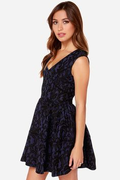 Hazel Never Give You Up Navy Blue Lace Dress at Lulus.com!