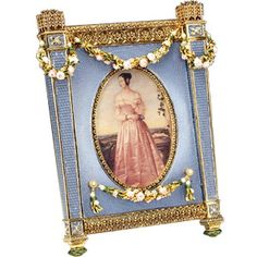 Faberge Cradle With Garlands, Silver Gilt and Blue Guilloche Enamel