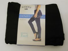 SIZE XL 16-18 Womens Black Denim Leggings RIDERS Faux Fly Real Back Pockets Skin #Riders