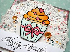 Elizabeth Craft Designs cupcake sticker filled in with Tombow markers #cardmaking