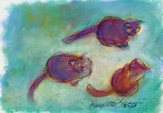 Daily Sketch Reprise: Three Warm Cats on a Cool Ground, 2013