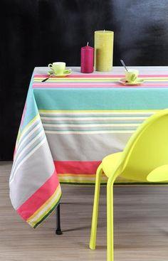 Stof - Nappe enduite à rayures SANTACRUZ - 100% Coton Beach Mat, Outdoor Blanket, Chair, Home Decor, Table, Summer, Plum Colour, Colour Gray, Oilcloth
