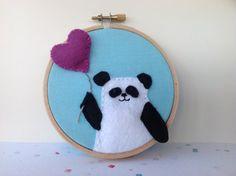 Turquoise and pink panda hoop art.  Colourful door BoxRoomBazaar, £12.00