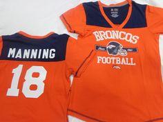 Denver Broncos Womens Peyton Manning V Neck NFL Jersey Shirt Size Large NWT #DenverBroncos