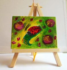 Ladybugs Painting original mini canvas with wooden by PapeMoe
