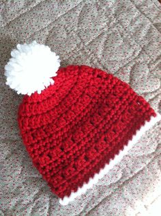 Christmas Crochet Baby Hat with Pompon Red by LakeviewCottageKids, $22.00